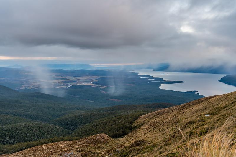 Rain showers over Lake Te Anau