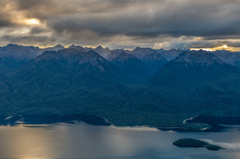 Franklin Mountains across Lake Te Anau from End Peak. The Billy Burn is at centre image. Lee Island and Safe Cove bottom right.