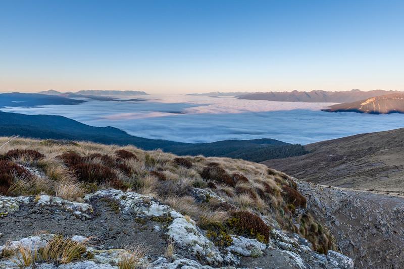 View south from Annick Peak: Mount Hamilton, Takitimu Mountains, Mount Titiroa, Murchison Mountains