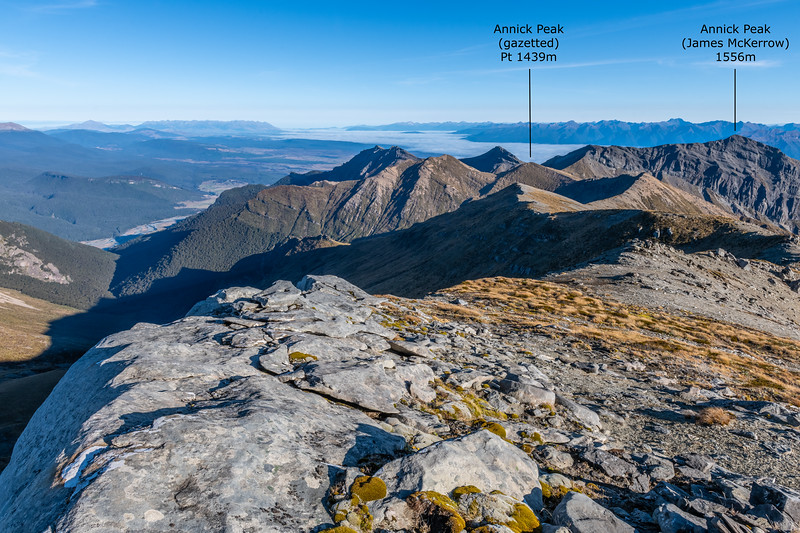 Annick Peak from the north. James McKerrow surveyed and named the prominent rocky peak visible above Lake Te Anau, Pt 1556m. When the name was gazetted, it was assigned to the incorrect spot-height, which is currently labelled 'Annick Peak' on the topographic maps.