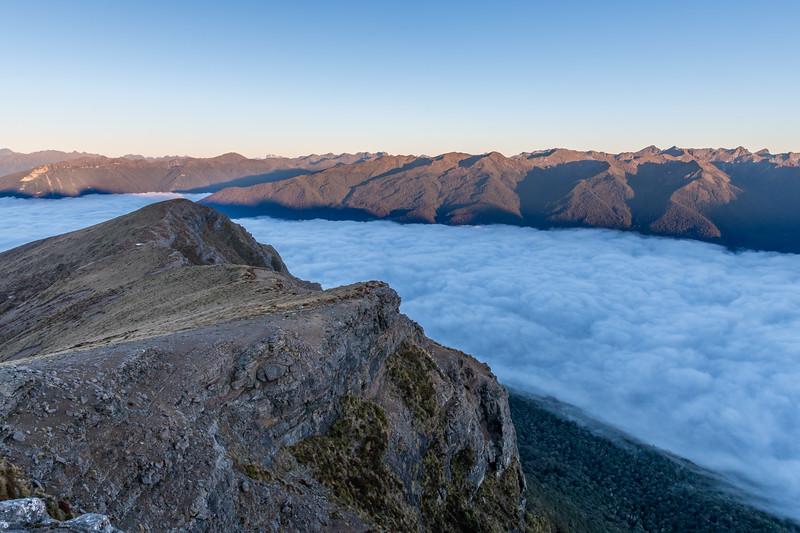 Stuart and Franklin Mountains across Lake Te Anau from Annick Peak