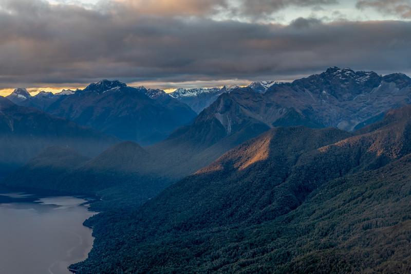 Mt Mitchelson, Mt Anau and Skelmorlie Peak at the head of Lake Te Anau