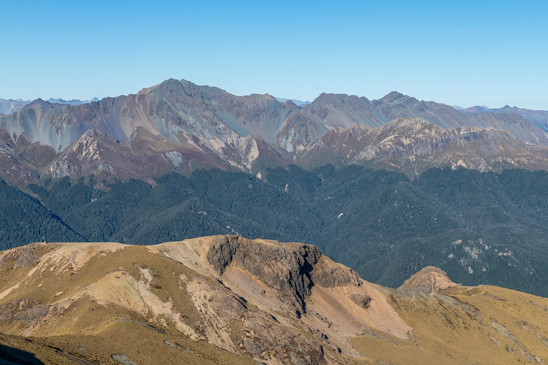 The Countess Range from the ridge-tops north of Annick Peak. The two prominent peaks on the skyline are Countess Peak and Winton Peak.