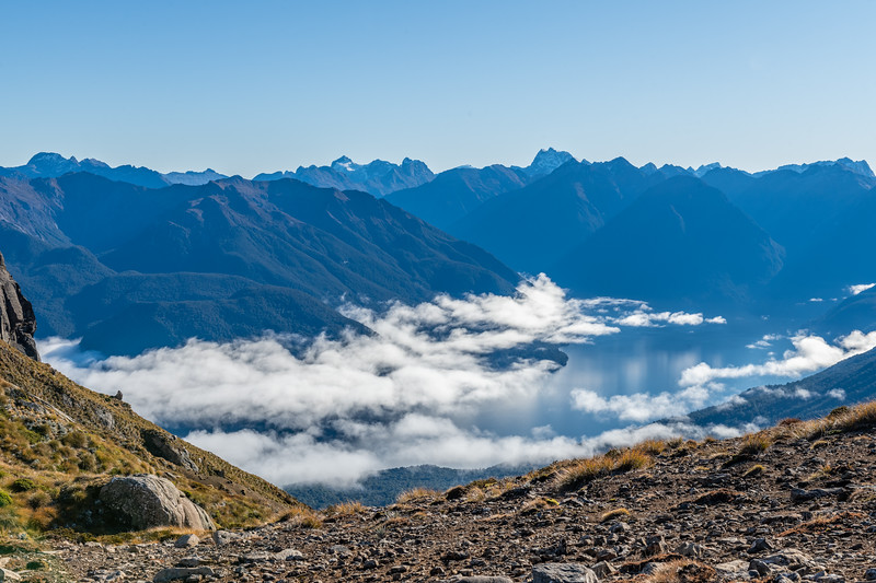 View north over Lake Te Anau from the ridge tops near Annick Peak. Barrier Peak and Pariroa / Castle Mount are at centre image.