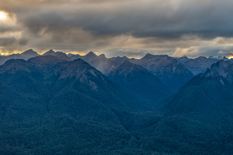 Franklin Mountains across Lake Te Anau from End Peak. The Billy Burn is at centre image.