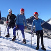 Hannah, Jean, Tessa and Laura try out crampons
