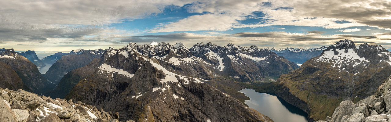 Darran Mountains panorama from Barrier Knob - Milford Sound to Lake Adelaide.