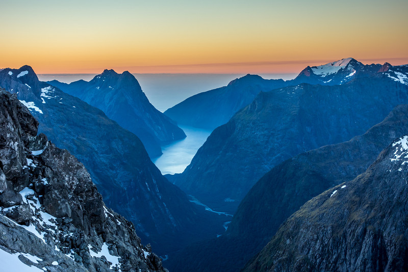 View from the summit of Barrier Knob at sunset: Milford Sound