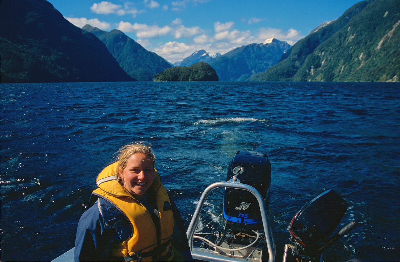 Boating across Doubtful Sound