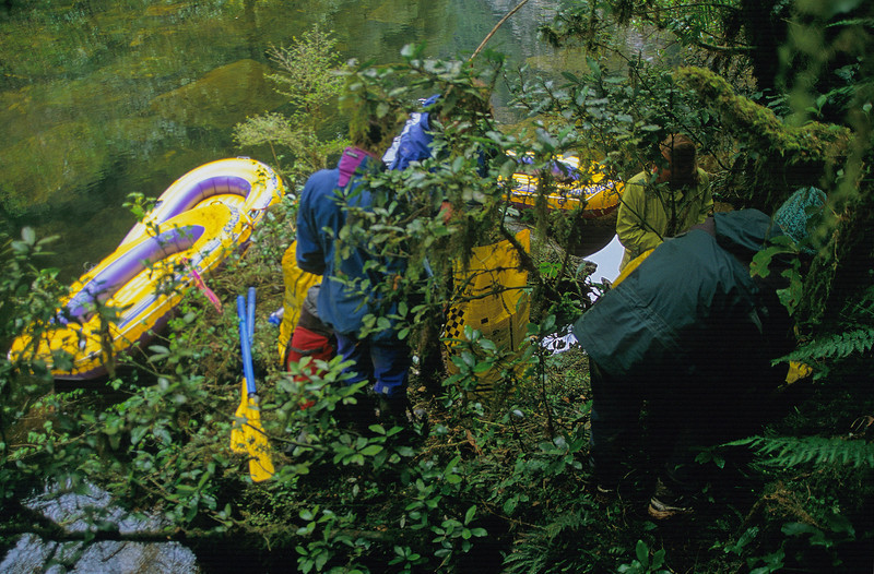 Try inflating a boat in thick Fiordland jungle...