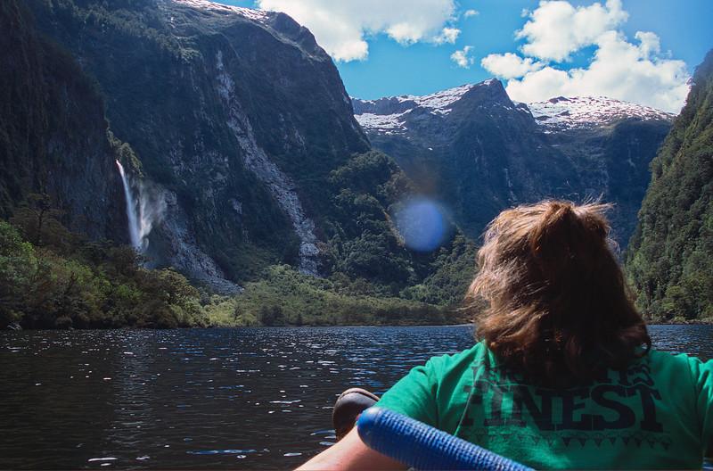 Floating on Lake Aquanait. Ellen Falls on the left.