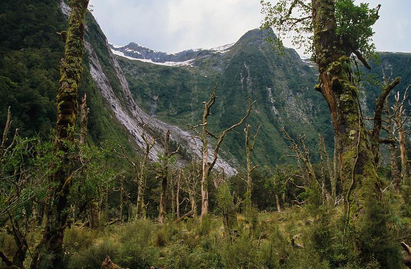 The steep mountain walls at the head of Lake Aquanaut