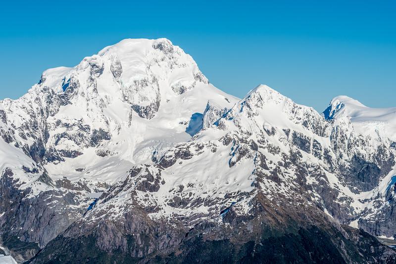 Mount Tutoko, Alice Peak and Paranui Peak from Pt 1793m, Bryneira Range.