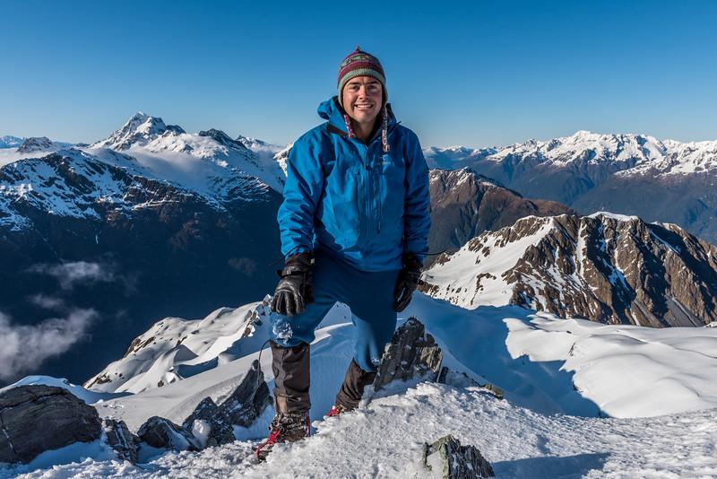 On the summit of Pt 1793m, Bryneira Range. Somnus is back left, Mount Christina back right.