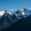 Darran Mountains: Mount Tuhawaiki, Taiaroa Peak, Mount Revelation, Mount Te Wera, from the slopes of the Bryneira Range.