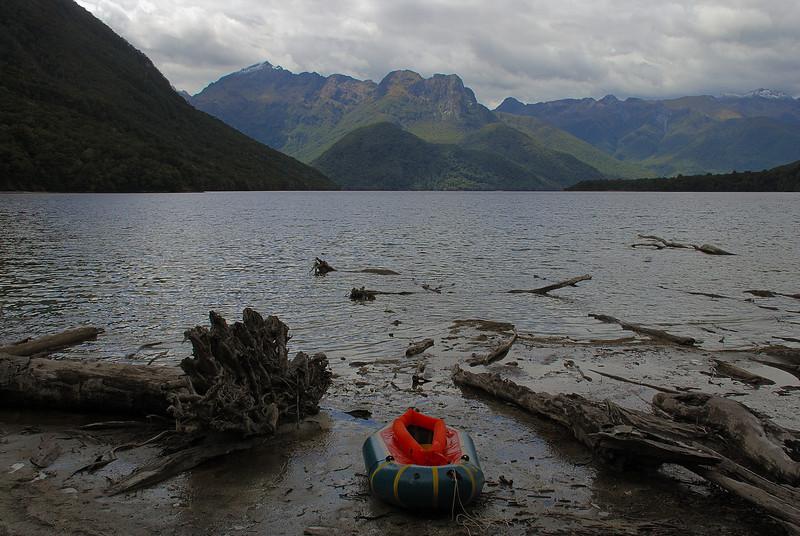 Worlsey Stream mouth, Lake Te Anau. Skelmorlie Peak is on centre-left