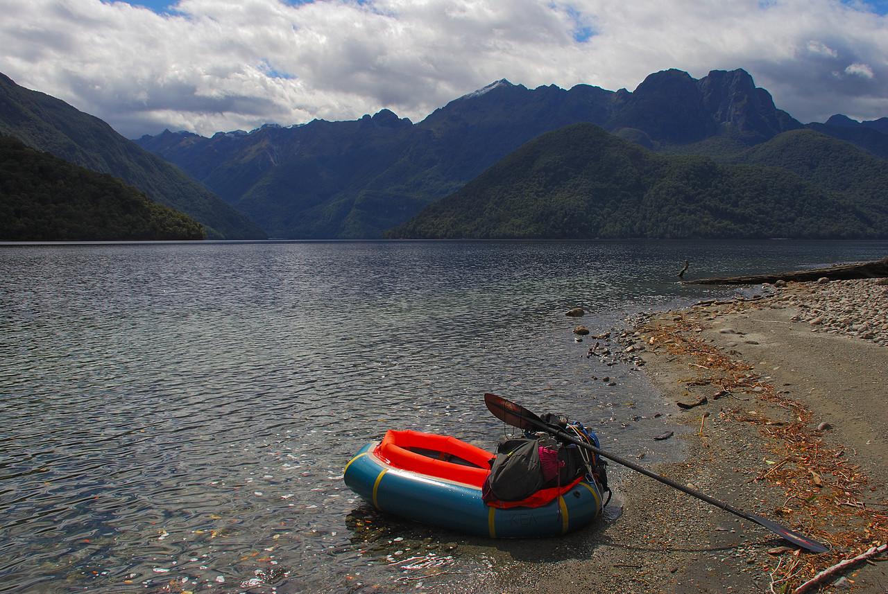 Taking a break at Sandfly Point, Worsley Arm, Lake Te Anau. Skelmorlie Peak is just right of centre image