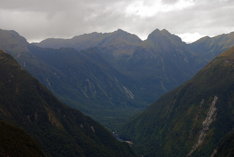 View down the Dark River. Swan Mere (bottom) and Mt Herbert (top) at centre image