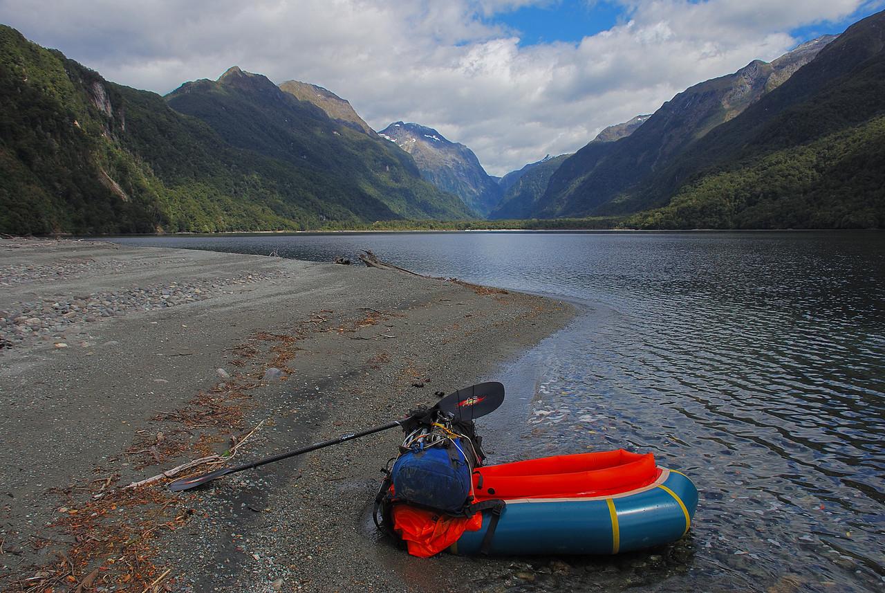 Taking a break at Sandfly Point, Worsley Arm, Lake Te Anau. Worsley Stream at centre image