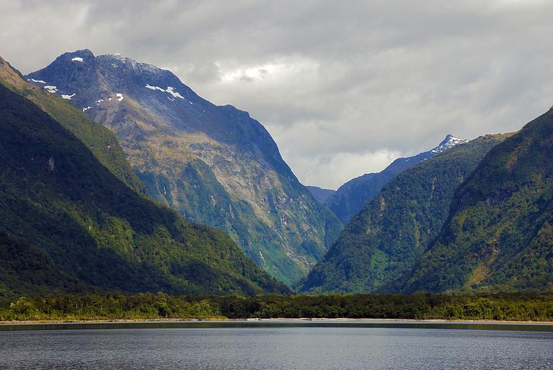 View up Worsley Stream from Lake Te Anau