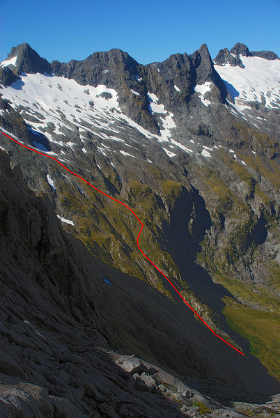 Route through the bluffs out of the Castle River cirque
