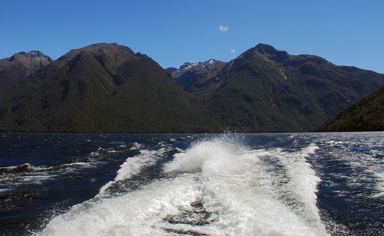 View up Indecision Creek from the Milford Track boat, Lake Te Anau