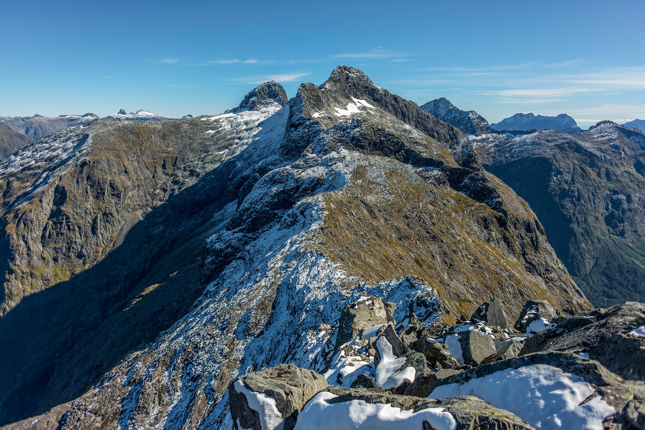 Access Peak (1865m) from pt 1655m. To the right are Odyseey Peak and Mitre Peak