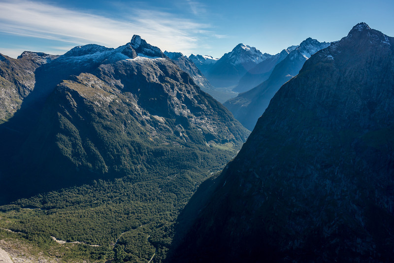 Sheerdown Peak, Mt Tutoko, Mt Underwood and Mt Isolation from the top of the Charismatic Wall. The Cleddau River below