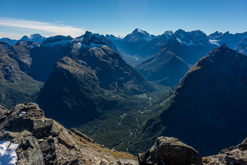 The Cleddau River and Central Darran mountains from pt 1655m. Mt Tutoko at centre image