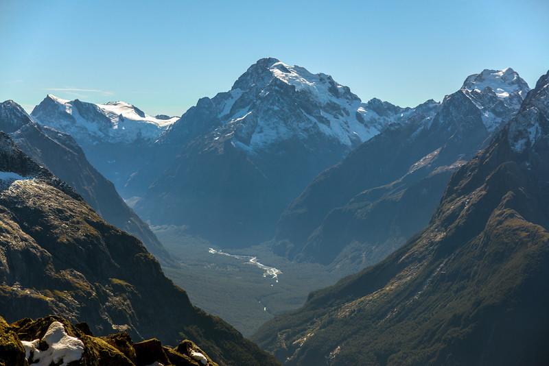 Paranui Peak, Mt Tutoko and Mt Madeline above the Tutoko Valley