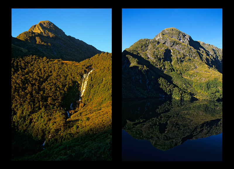 Two images of unnamed peak 1155m above the lake 871m at the head of the Cozette Burn, West Branch.