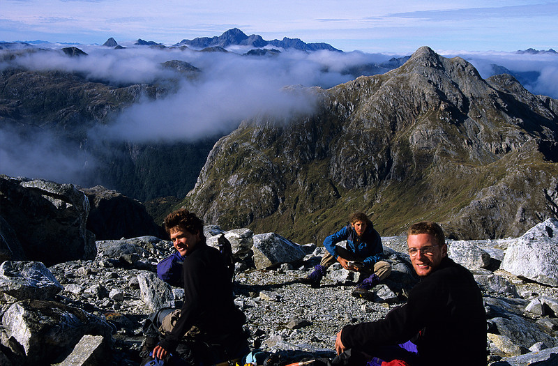 On the tops south of Robin Saddle, looking at unnamed peak 1474m (front right) and Mt Lyall (centre back)