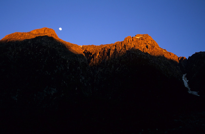 Sun rise on Coronation Peak, at the head of the Cozette Burn, West Branch