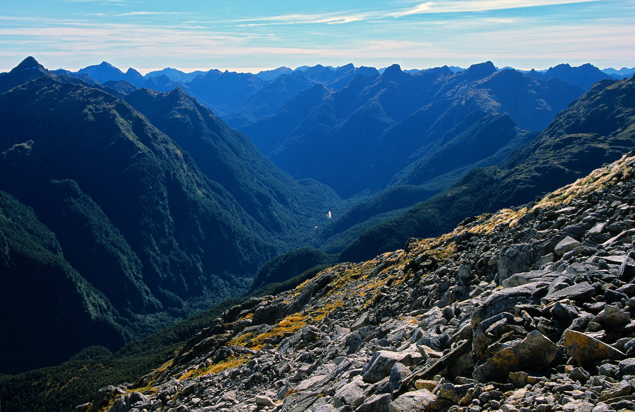The Irene River from the ridge above Te Au Saddle
