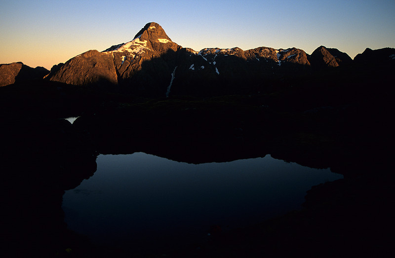 Sunset on Coronation Peak from the tarn above Hidden Lake