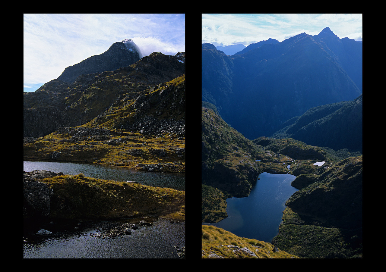 Views from near Robin Saddle: Mt Irene (left) and unnamed peak 1544m (right)
