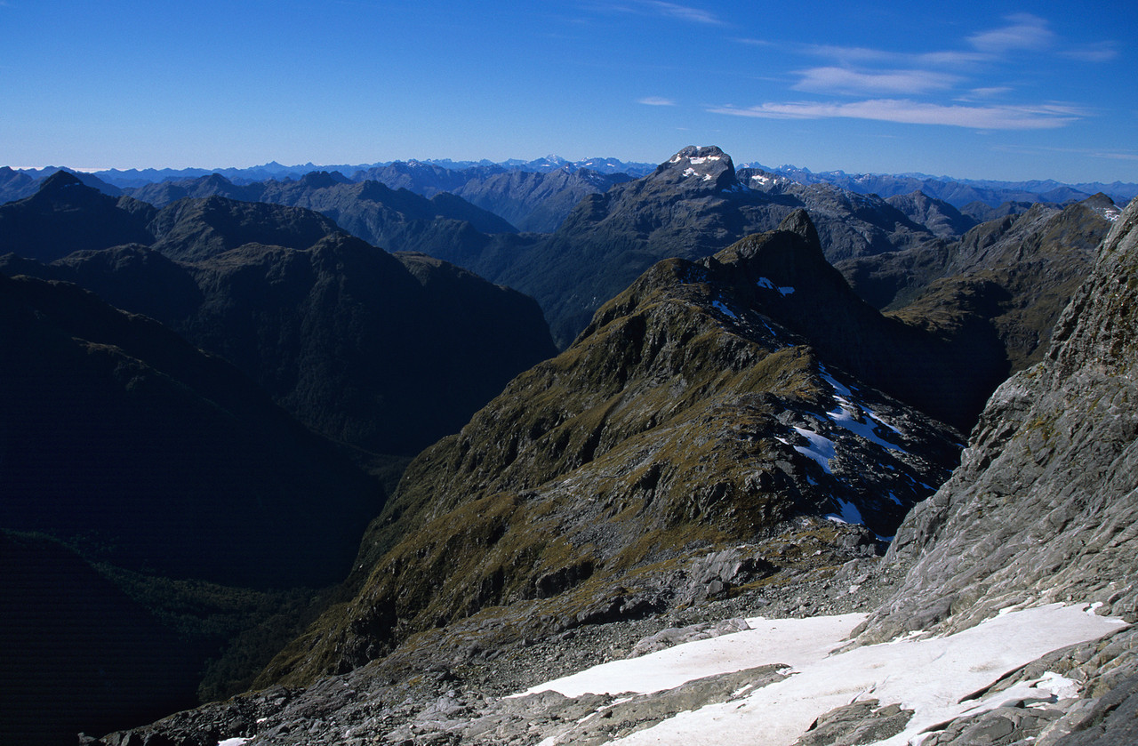 Mt Irene from the north-west ridge of Coronation Peak. The Irene River is in the shade, on the left.