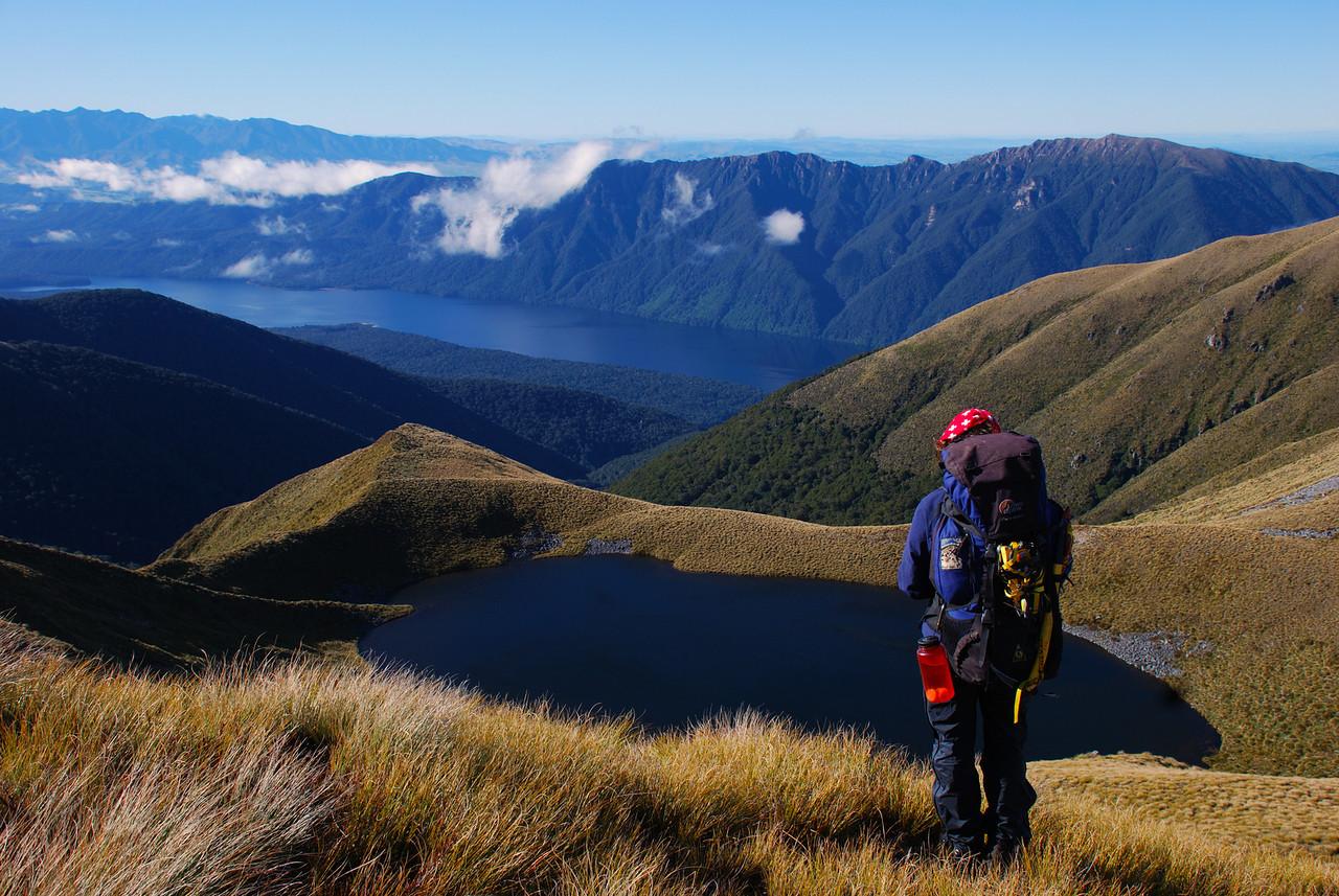 On unnamed peak 1316m above Lake Monowai