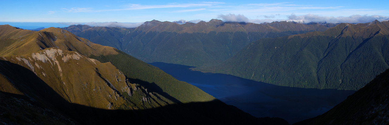 Looking across Lake Monowai from the tops west of Cleughearn Peak. From left to right are Eel Creek, the Kaherekoau Mountains and the Electric River