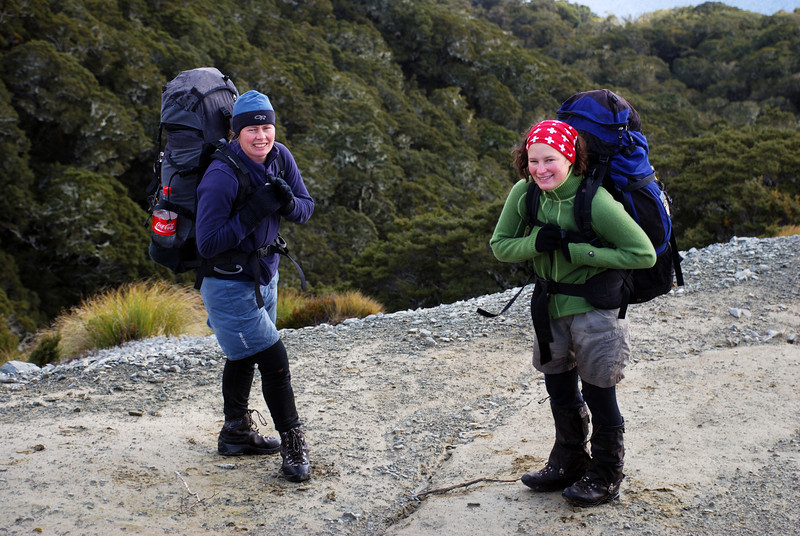 Lara and Nina on the slopes of Mt Cuthbert