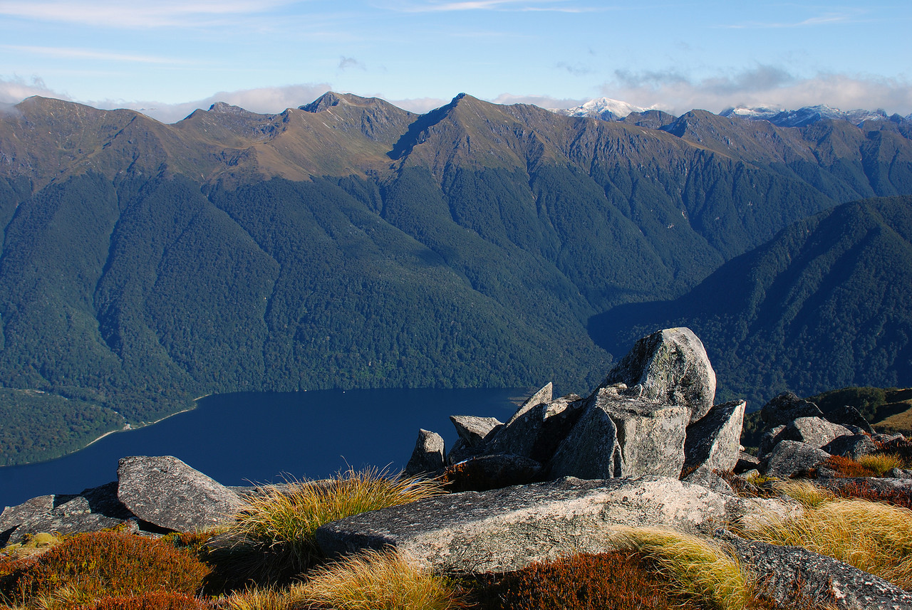 On unnamed peak 1315m above Lake Monowai. The Kaherekoau Mountains and the Electric River in the background.