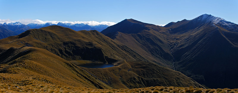 Cleughearn Peak (on the far right) from unnamed peak 1315m above Lake Monowai