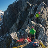 Pitching the nasty traverse on the ridge near Homer Saddle - Glenn belaying Al