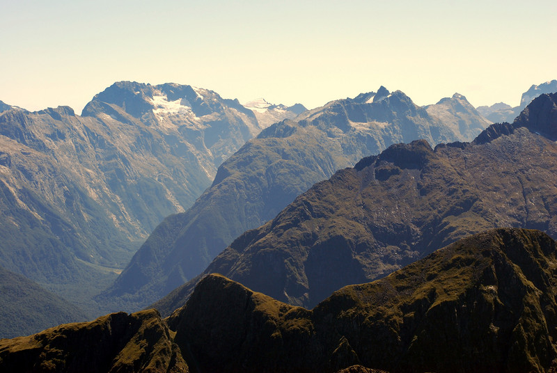 25. The mountain tops above the Milford Track; Castle Mount on the left