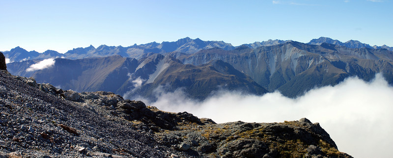11. The Livingstone Range from the broad shelf below the summit ridge
