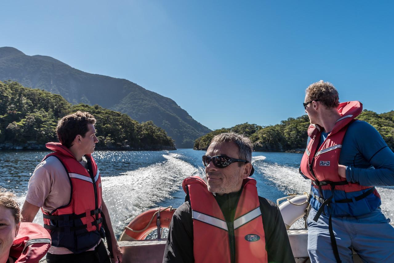 Boating across Lake Hauroko
