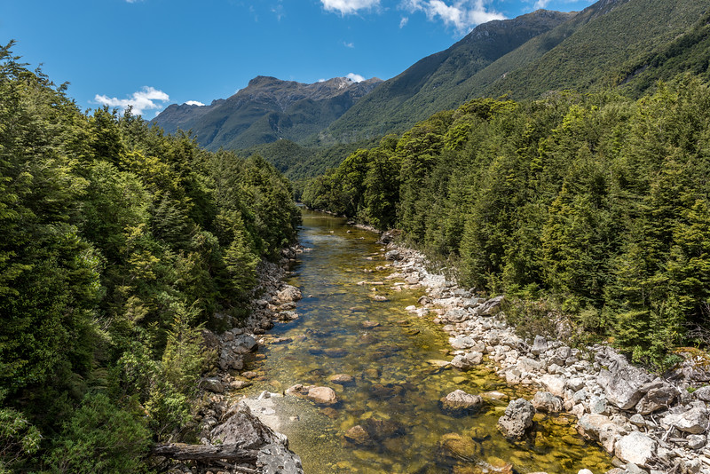 The lower Spey River from the bridge on the Percy Saddle Road. The Turret Range is in the background. Lake Manapouri West Arm.