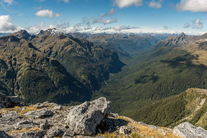View into the Spey River, Matterhorn Mountains (left) and Wall Mountains (right) from Mount Memphis.