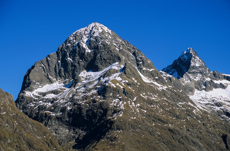 Ngatimamoe Peak and Pyramid Peak from Falls Creek