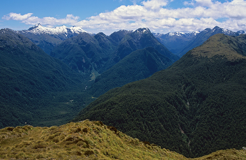 Looking north from the Pleasant Range: Tripod Hill and Mount Aubrey are at centre image, with the Seaforth River to the left, and the snowclad Mount Cusack and Mount Nantes above. The Bessie Burn and the Kilcoy Mountains are on the right